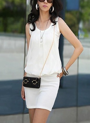 Solid Pencil Sleeveless Above Knee Sheath Dress