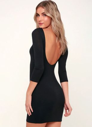 Solid 3/4 Sleeves Above Knee X-line Dress