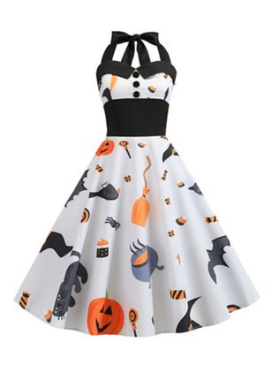 Halloween Color Block Halter Neckline Midi X-line Dress (109973595)