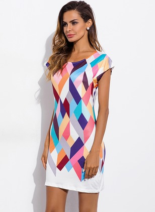Color Block Cap Sleeve Shift Dress