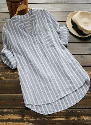Stripe Casual V-Neckline Long Sleeve Blouses (4039818)