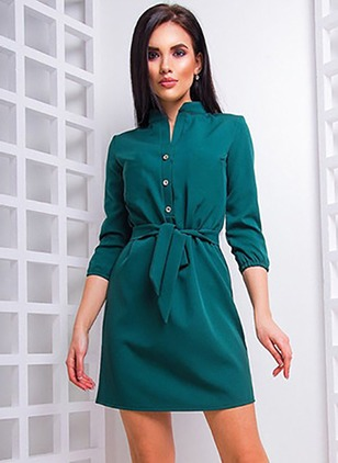 Solid Wrap 3/4 Sleeves Sheath Dress