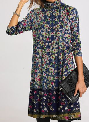 Casual Floral Tunic High Neckline Shift Dress (108088662)