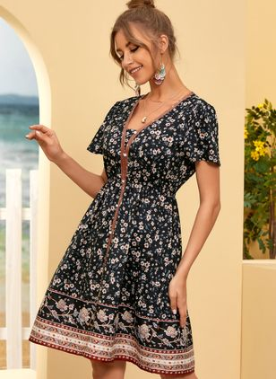 Casual Floral Skater V-Neckline X-line Dress (107423161)
