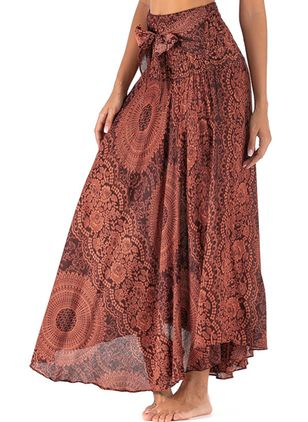 Floral Maxi Casual Skirts (100547315)