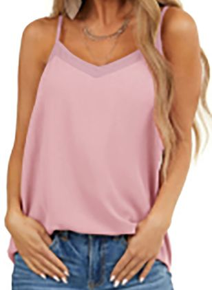 Solid Camisole Neckline Sleeveless Casual T-shirts (147966189)