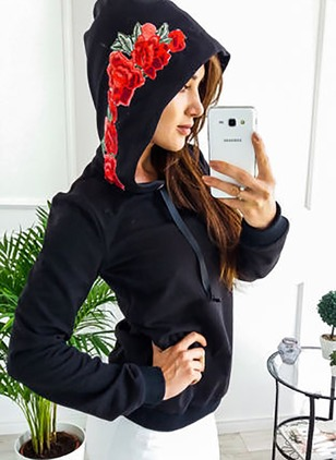 Floral Casual Cotton Hooded None Sweatshirts