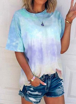 Color Block Round Neck Short Sleeve Casual T-shirts (101246735)