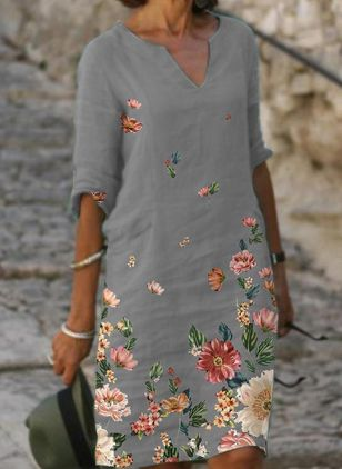 Casual Floral Tunic V-Neckline A-line Dress (104534428)