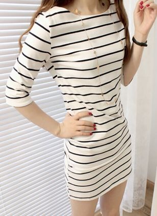 Stripe Half Sleeve Above Knee Sheath Dress