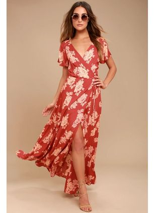 Floral Wrap Short Sleeve Maxi X-line Dress