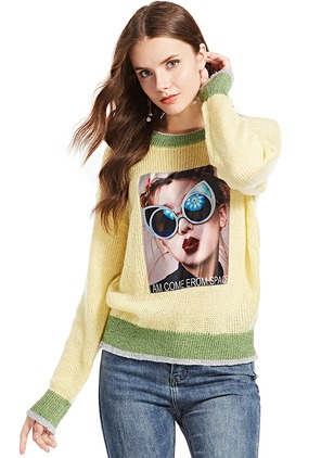 Round Neckline Character Loose None Sweaters
