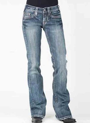 Casual Bootcut Mid Waist Polyester Jeans Pants (120649085)
