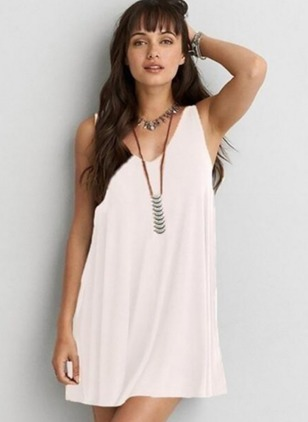 Cotton Solid V-Neckline Sleeveless Shift Dress