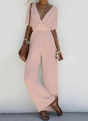 Cotton Solid Short Sleeve Jumpsuits & Rompers