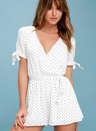 Polka Dot Short Sleeve Wave Point Jumpsuits & Rompers