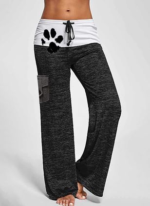 Casual Loose Buttons Pattern Mid Waist Polyester Pants (146681592)