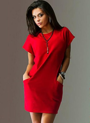 Acrylic Solid Short Sleeve Knee-Length Dresses