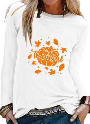 Color Block Round Neck Long Sleeve Halloween T-shirts (108859027)
