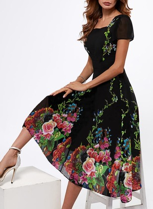 Floral None Square Neckline Midi A-line, Dress
