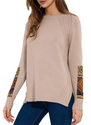 Polyester Round Neckline Color Block Loose Embroidery Sweaters