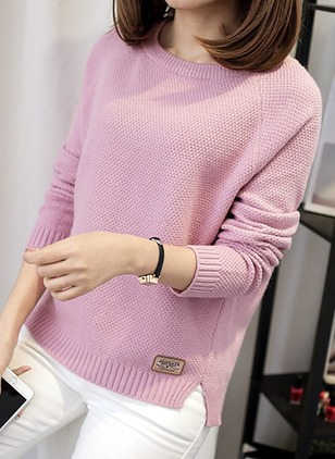 Round Neckline Solid Loose Ruffles Others Sweaters