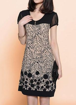 Leopard Skater Short Sleeve Knee-Length Shift Dress