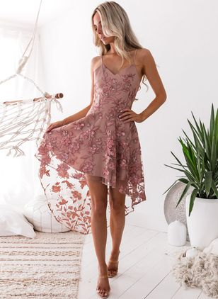 Floral Ruffles Slip High Low X-line Dress