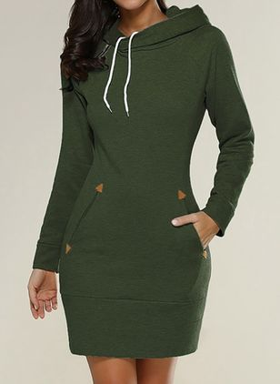 Basic Solid Sweatershirt Round Neckline Sheath Dress (112602198)