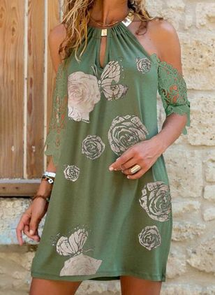 Casual Floral Tunic Halter Neckline A-line Dress (106821785)