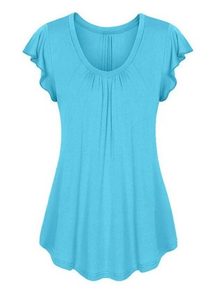 Solid Casual Cotton Round Neckline Cap Sleeve Blouses