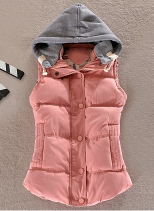 Polyester Sleeveless Hooded Pockets Coats
