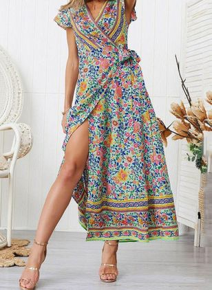 Floral Peasant Cap Sleeve Maxi X-line Dress