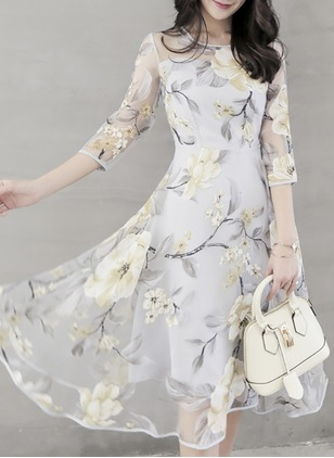 Floral Skater Half Sleeve Midi A-line Dress