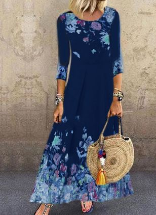 Casual Floral Shirt Round Neckline A-line Dress (112602059)