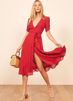 Polka Dot Short Sleeve Midi X-line Dress