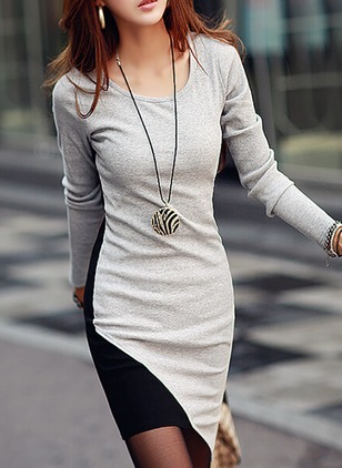 Cotton Blends Color Block Long Sleeve High Low Dresses