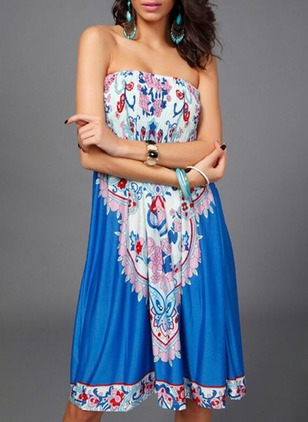 Floral Off the Shoulder Sleeveless Knee-Length Shift Dress