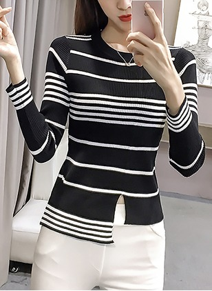 Polyester Round Neckline Stripe Tight None Sweaters