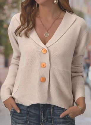 V-Neckline Solid Casual Loose Regular Buttons Sweaters (104146852)