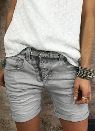 Casual Skinny Pockets Mid Waist Denim Jeans Shorts (104147755)