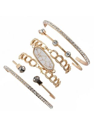 Casual Round Gemstone Bangle Bracelets (4045821)