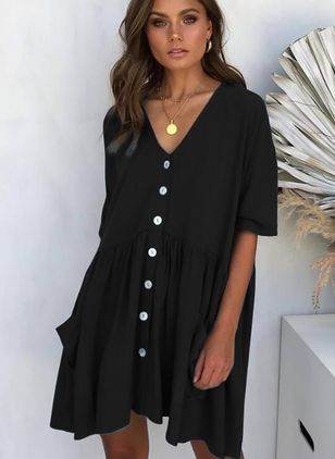 Solid Buttons V-Neckline Above Knee A-line Dress