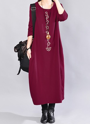 Cotton Solid 3/4 Sleeves Mid-Calf Casual Dresses