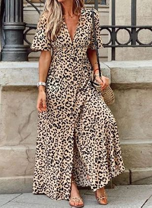 Casual Leopard V-Neckline Maxi X-line Dress (100447614)