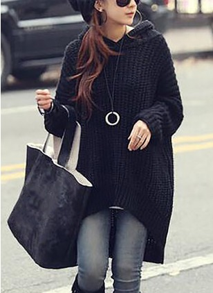 Cotton Hooded Solid Loose Long None Sweaters
