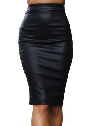 Solid Knee-Length Sexy Zipper Skirts