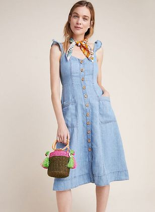 Solid Pockets Sleeveless Midi X-line Dress