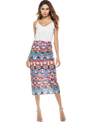 Polyester Floral Mid-Calf Casual Skirts