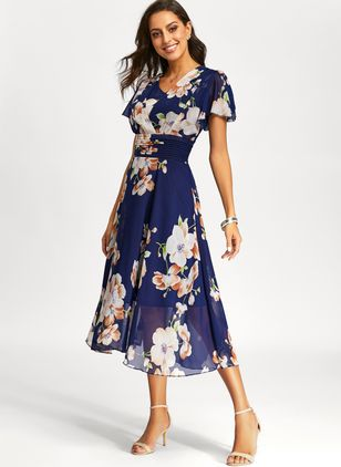 Casual Floral Sashes Wrap Sheath Dress (1352052)